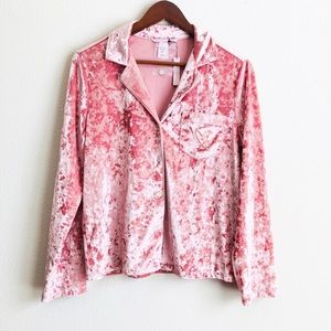 Victoria's Secret crushed velvet pink pajama top